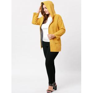 Hit Color Long Hooded Plus Size Coat - YELLOW 4XL