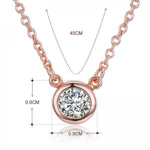 Collier pendentif en cristal brillant strass - Or Rose