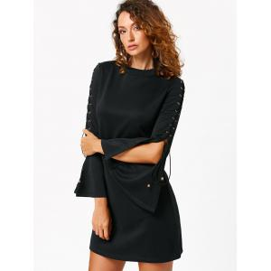 Lace Up Flared Sleeve Mini Sheath Dress - BLACK S