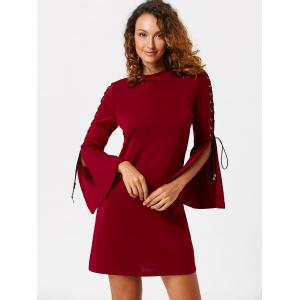 Lace Up Flared Sleeve Mini Sheath Dress -