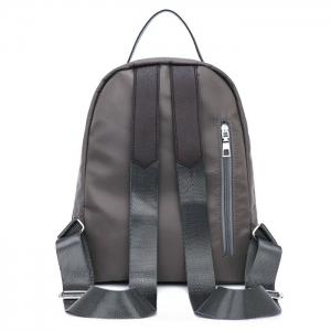 Fermeture à glissière Nylon Faux Leather Insert Backpack - Gris