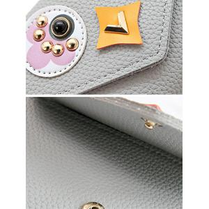 Envelope Studded Textured Leather Small Wallet -