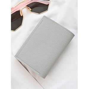 Envelope Studded Textured Leather Small Wallet - GRAY