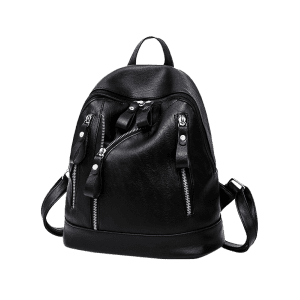 PU Leather Zipper Backpack - BLACK
