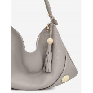 Tassel Zipper PU Leather Shoulder Bag -