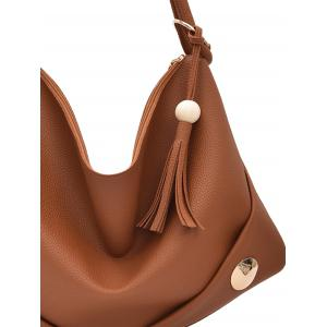 Tassel Zipper PU Leather Shoulder Bag - BROWN