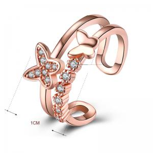 Rhinestone Butterfly Hollow Out Cuff Ring -
