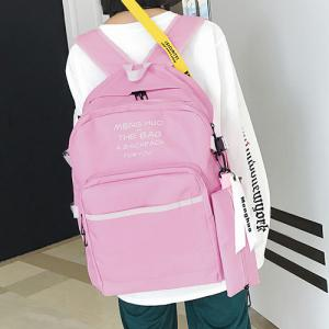 Nylon Color Block 2 Pieces Backpack Set - PINK