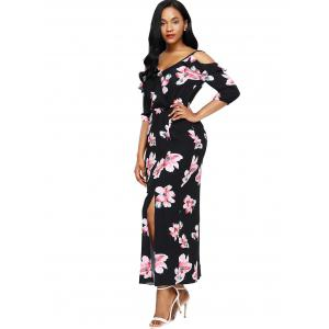 Slit Floral Open Shoulder Maxi Dress - BLACK L