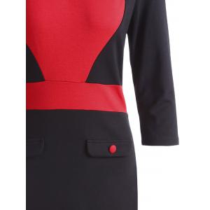 Sweetheart Neck Two Tone Formal Bodycon Dress - RED S