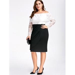 Lace Plus Size Off Shoulder Two Tone Sheath Dress -