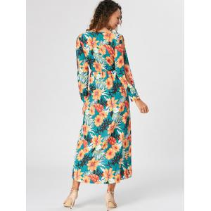 Slit Sleeve Floral Overlap Surplice Dress -
