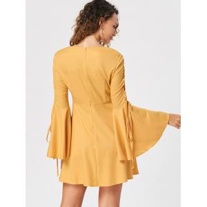 Bell Sleeve Lace Up Skater Dress - YELLOW M