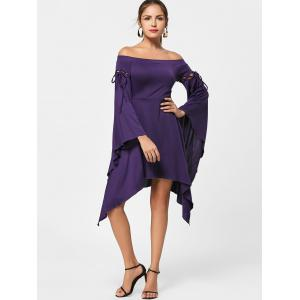 Asymmetric Flare Sleeve Off Shoulder Dress -