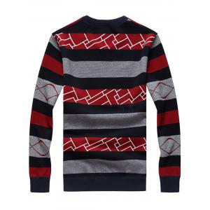 Ribbed Trim Stripe Pullover Sweater - RED 2XL