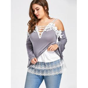 Plus Size Layered Sheer Lace Extender Skirt - WHITE 5XL