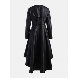 High Low One Clasp Flared Coat - BLACK S