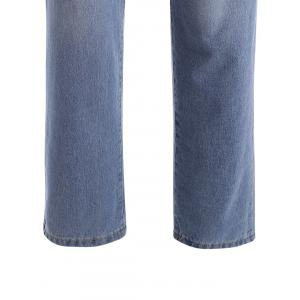Zipper Fly Distressed Plus Size Jeans -