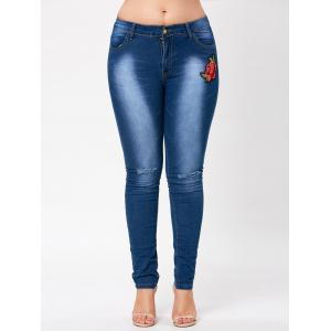 Ripped Knee Plus Size Floral Embroidered Jeans -