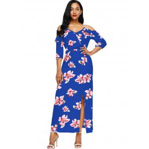 Slit Floral Open Shoulder Maxi Dress -