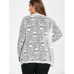Plus Size Openwork Halloween Skull Jacket -