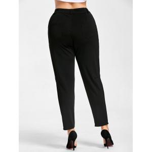 Plus Size Zipper Fly Skinny Pants -