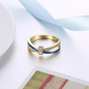 Sparkly Rhinestoned Two Tone Ring -
