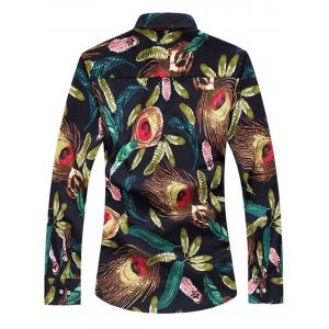 Feather Print Long Sleeve Plus Size Shirt -