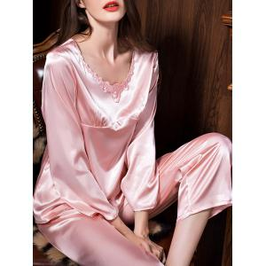 Long Sleeves Satin Sleepwear Set -