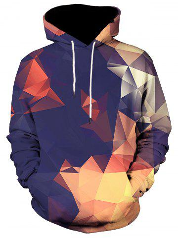 Unique Kangaroo Pocket Geometric Pullover Hoodie - M COLORMIX Mobile