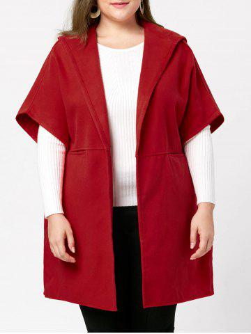 Cheap Plus Size Woolen Blend Hooded Poncho Coat - 5XL RED Mobile