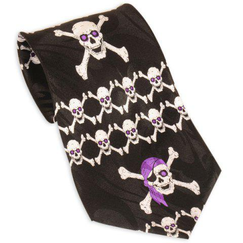 Sale Pirate Skull Printed 10CM Width Neck Tie - BLACK  Mobile