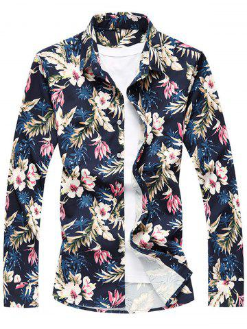 Affordable Floral Print Long Sleeve Plus Size Shirt COLORMIX 5XL