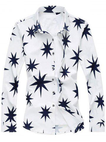 Hot 8 Point Star Long Sleeve Plus Size Shirt - 5XL WHITE Mobile