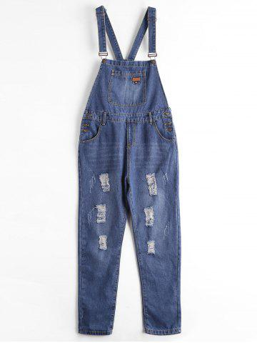 Sale Plus Size Ripped Denim Overalls - 5XL BLUE Mobile