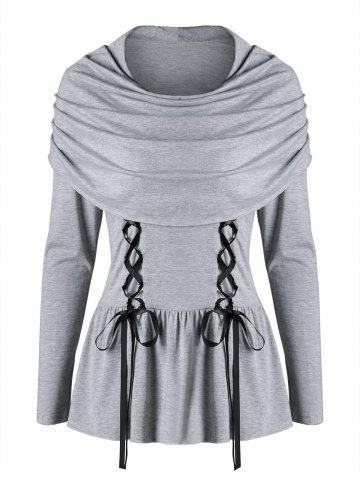 Store Long Sleeve Lace Up Capelet Top - 2XL LIGHT GREY Mobile