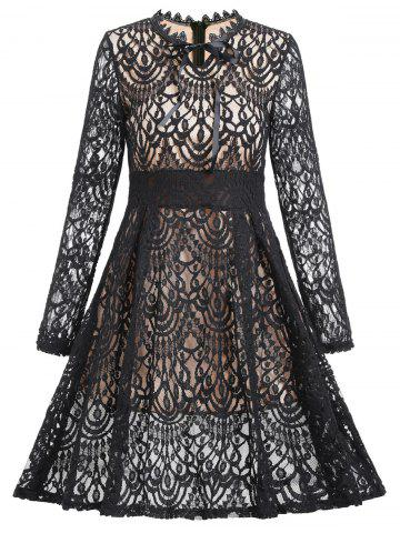 Latest A Line Lace Dress with Sleeves - M BLACK Mobile