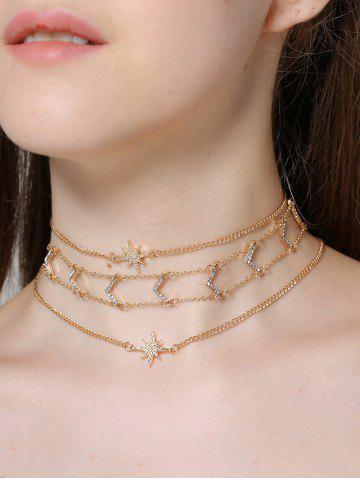3PCS strass V collier en étoile Collarbone