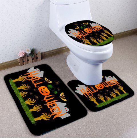 Store 3PCS Halloween Ghost Pumpkin Toilet Bath Rugs Set - BLACK  Mobile