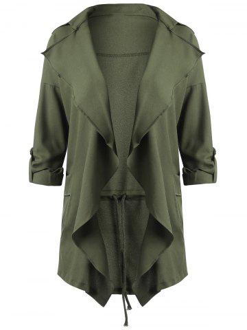 Shop Drape Plus Size Lapel Waterfall Coat - 5XL ARMY GREEN Mobile