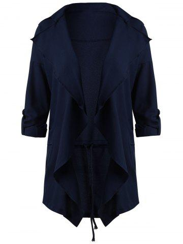 Latest Drape Plus Size Lapel Waterfall Coat - 5XL DEEP BLUE Mobile