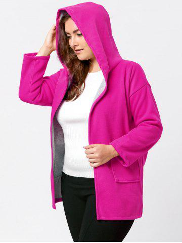 Fashion Hit Color Long Hooded Plus Size Coat - 5XL ROSE RED Mobile