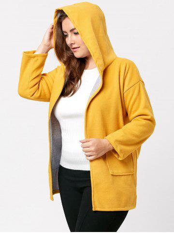 Discount Hit Color Long Hooded Plus Size Coat - 5XL YELLOW Mobile