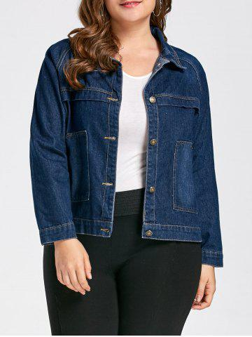 Shop Plus Size Button Boyfriend Denim Jacket