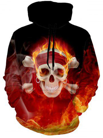 Best Flame Skull Pullover Halloween Hoodie - M COLORMIX Mobile