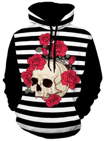 Chic Flower Skull Print Stripe Hoodie - 3XL COLORMIX Mobile