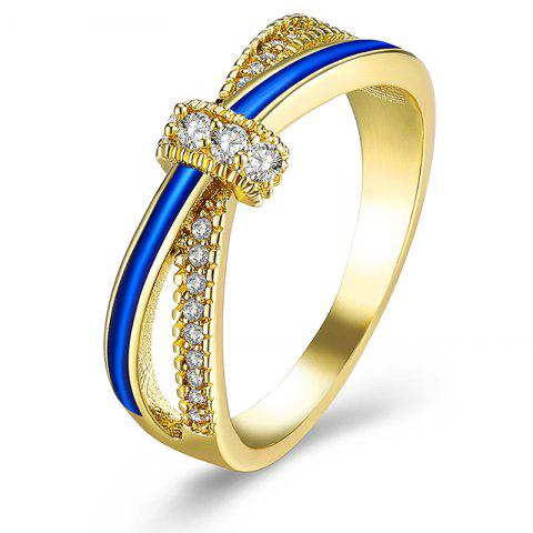 Chic Sparkly Rhinestoned Two Tone Ring - 8 GOLDEN Mobile