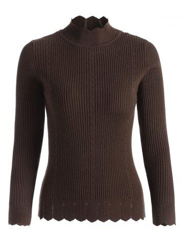 Scallop Ribbed Mock Neck Sweater