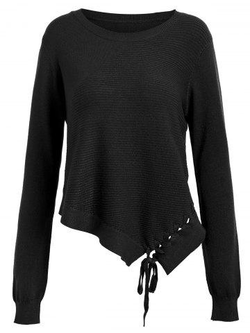 Best Asymmetric Lace-up Knit Sweater