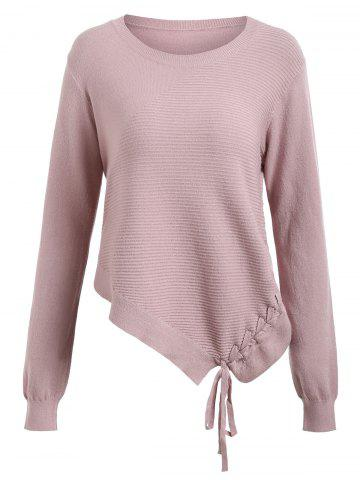 Discount Asymmetric Lace-up Knit Sweater
